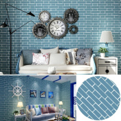 SimpleLife4U Mediterranean Style Blue Brick Pattern Decorative Contact Paper Vinyl Self Adhesive Shelf Drawer Liner 43cm x 300cm