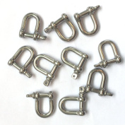 Jingyi Stainless Steel Mini D Shackle, 4mm, Silver Colour,for Paracord Jewellery, Marine Tackle-10 Pieces