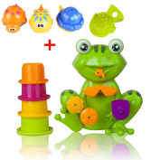 Angela FUN Toddler Bath Toys - Interactive Frog Bath Toy for Toddlers - Educational Bath Time Fun for Girls & Boys! Safe, Non-toxic, Bright Colours and Fun!