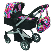 Babyboo Deluxe Doll Pram Colour Gumball & Black with Swivelling Wheels & Adjustable Handle and Free Carriage Bag - 9651B GB