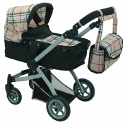 Babyboo Deluxe Doll Pram Colour Gumball & Black with Swivelling Wheels & Adjustable Handle and Free Carriage Bag - 9651B Beige Plaid