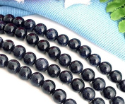 Ecloud Shop® Blue Goldstone 10mm Round Sand Gem Beads One Strand