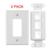 White 3 Port Decora Keystone Snap-in Jack Modular Wall Insert Cover Plate