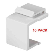 White Snap-In Keystone for Blank Insert Face Wall Plate/Panels Flat Plug