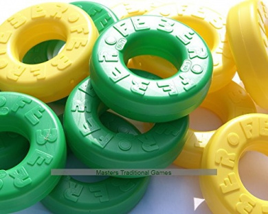 Set of 42 spare discs for Mega 4 in a Line (21 green, 21 yellow)