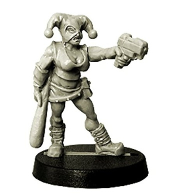 28mm Fantasy Miniatures: Gangster (Female) with Pistol and Baseball Bat