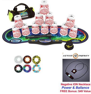 Speed Stacks Custom Combo Set - The Works: 12 WHITE FLAMES 10cm Cups, Cup Keeper, Quick Release Stem, Pro Timer, Gen 3 Premium VOXEL GLOW Mat, 6 Snap Tops, Gear Bag + FREE: Active Energy Power Necklace $49