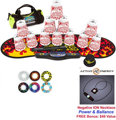 Speed Stacks Custom Combo Set - The Works: 12 WHITE FLAMES 10cm Cups, Cup Keeper, Quick Release Stem, Pro Timer, Gen 3 Premium Black Flame Mat, 6 Snap Tops, Gear Bag + FREE: Active Energy Power Necklace $49