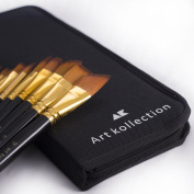 Artist Paint Brush Set by Art Kollection- High Quality- Purdy Paint Brushes- Travelling Pouch/ Pop Up Stand- Easy to Clean- Best For Acrylic, Watercolour, Oil, Gouache, Sign and Face Painting
