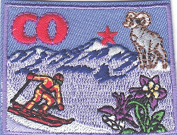 """""""CO"""" - COLORADO STATE SHAPE PATCH-Iron On Patch/Southwest, Skiing, Mountains"""