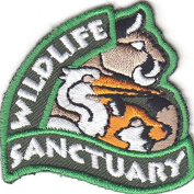 """""""WILDLIFE SANCTUARY"""" PATCH-Iron On Embroidered Applique/Wild Animals,Zoo,Jungle"""
