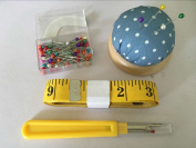 AntKits Sewing Tools Kits Including Seam Ripper, 160 x Multicolor Glass Head Pins, Pin Cushion, and 300cm Soft Tape Measure for Sewing Tailor Cloth Ruler