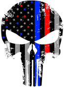 Red and Blue Tattered 10cm x 7.6cm Subdued Us Flag Punisher Skull Reflective Decal with Thin Blue Line