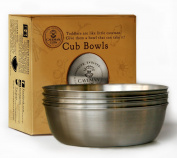 Cub Bowls 18/8 Stainless Steel 4 Pack, Non-Toxic, Exclusive Design for Baby, Toddler, Kids or Child by Caveman Cups