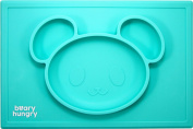 Beary Hungry All-in-one Silicone Placemat for kids suctions to surface, non-slip mat with 3 built-in dividers to easily portion out nutritious food groups on plate, dishwasher safe, microwave safe, BPA Free