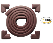 AWESOME® 7.1m [6m Edge + 12 Corners] Safety Edge & Corner Cushion Guards- Premium Childproofing Protection -COFFEE-EXTRA LONG, EXTRA DENSE