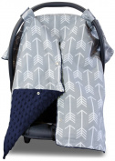 Premium Carseat Canopy Cover and Nursing Cover- Large Arrow Pattern w/ Navy Minky   Best Infant Car Seat Canopy, Boy or Girl   Cool/ Warm Weather Car Seat Cover   Baby Shower Gift 4 Breastfeeding Moms