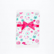 Baby Gear Plush Velboa Ultra Soft Baby Girls Blanket 30 x 40, Aqua Flowers & Bears