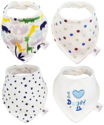 Baby Bandana Drool Bibs by Smiling Baby, Absorbent 4 - Pack Cotton, Unique Cute and Modern Trendy Design, Fashionable Unisex Bibs (Boys & Girls the ideal present