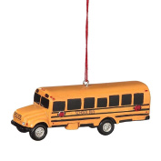 School Bus Resin Hanging Christmas Ornament - Size 9.5cm .