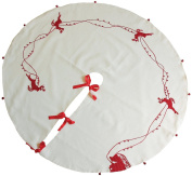 Xia Home Fashions Santa's Sleigh with Bells and Reindeer Crewel Embroidered Christmas Tree Skirt, 120cm