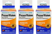 Bausch & Lomb Preservision with Lutein Eye Vitamin & Mineral Supplement, 50-Count Soft Gels