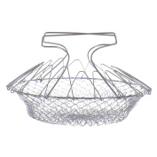 LADEY Stainless Steel Foldable Steam Rinse Strain Fry Chef Basket Strainer Net Kitchen Cooking Tool