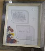 Baby Blessing Two Tone Silver Picture Frame with handpressed flowers and special verse:God bless this little babys room, keep it safe within your sight, fill it with your precious love, each day and every night.