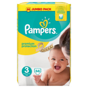 Pampers Premium Protection Jumbo Pack, Size 3 - 66 Nappies