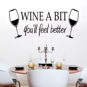 KiKi Monkey WINE A BIT KITCHEN Vinyl Wall Quote Sticker BY Cols Decals UK