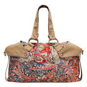 Women's Canvas Retro Bohemian Style Vintage Printed Shoulder Bag Travel Bag Messenger Bag Satchel