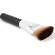 RayLineDo® 1PCS Professional Flat Head Contour Makeup Brush Foundation Powder Cosmetic Brush In Black Handle Silver Collar And Brown Hair