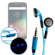 DURAGADGET Exclusive LED Flashing Earphones - Glowing Neon Light-Up USB Rechargeable Earphones in Dazzling Blue Compatible with the Lenovo Moto G4 Smartphone
