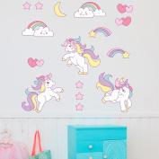Cute Unicorn Rainbow Colour Wall Sticker Set Child Bedroom Decor