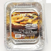 Large Disposable Aluminium Foil Baking/Roasting Pan/Tray (Gastronorm) Half Size Deep, 324 x 263 x 65 - Pack of 10