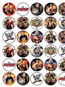 30 Assorted WWE Icing Cup Cake Toppers 3.5cms