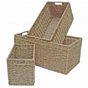 Seagrass Wicker Storage Basket, Shelf Drawer, Rectangle Long