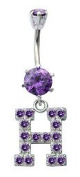 Initial Alphabet Balancent Belly Button Piercing with Zircon Stones - Amethyst Colour