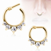 Rhinestone Petal Nose Hoop Nose Rings Fake Septum Clicker Body Piercing Jewellery Hanger Clip On Jewellery