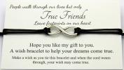 True Friends Handmade Wish bracelet, Tibetan Silver Infinity Charm, Birthday Friendship Best Friend Sister, Come With Organza Gift bag