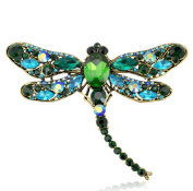 RichBest Fashion Summer Jewellery Accessories Brooch For Girl Vintage Lovely Dragonfly Crystal Scarf Lapel Pin Brooches For Women