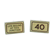 "MPH Gents Silvertone Metal ""Life Begins At This Junction - 100cm Cufflinks"