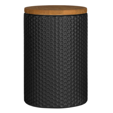 Dolomite Black Hex Tea Coffee Sugar Canister Bamboo Lid Kitchen Food Storage Jar