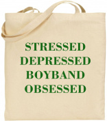 Stressed Depressed Boyband Obsessed Large Cotton Tote Bag Teen Girls Funny Gift
