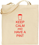 Keep Calm And Have A Pint Large Cotton Tote Shopping Bag Pub Gift Present Xmas