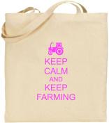 Keep Calm And Keep Farming Large Cotton Tote Shopping Bag Farm Gift Present Xmas