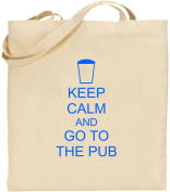 Keep Calm And Go To The Pub Large Cotton Tote Shopping Bag Friend Gift Comedy