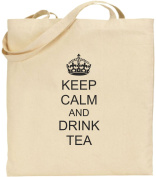 Keep Calm And Drink Tea Large Cotton Tote Shopping Bag Friend Gift Funny Comedy
