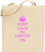 Keep Calm And Canter On Large Cotton Tote Shopping Bag Present Xmas Cool Fun