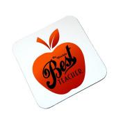 The Worlds Best Teacher Wooden Coaster Red Teachers Gift